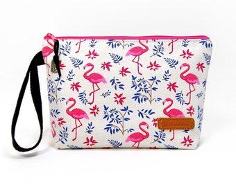 Flamingo Zipper Pouch, Cosmetic Bag, Makeup Bag, Toiletry Bag, Supply Bag, Purse Organizer, Zipper Wristlet, Canvas Bag