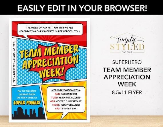 editable team member appreciation week superhero flyer