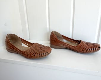Vintage Saddle Tan Natuarlizer  Huaraches Mexican Woven Toe Sandals Brazil Shoe 7 M