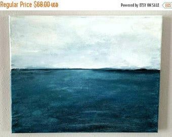 CLEARANCE Original Acrylic Art Painting, Ocean Blue Seascape, Oregon Coast Painting, Gift for Him or Her, Fathers Day, Mothers Day, Beach Ho