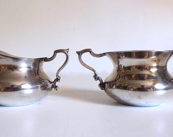 Silver Plate Creamer and Sugar Set - Vintage Poole Silver Co. Creamer - Bohemian Chic - Floyd Jones Vintage