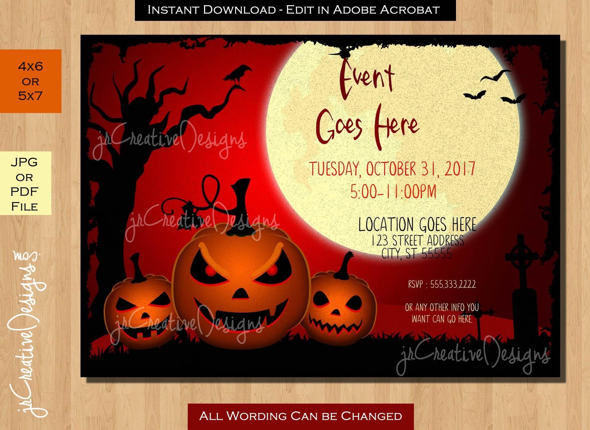 Halloween Invites Halloween Invitations Costume party Halloween ...
