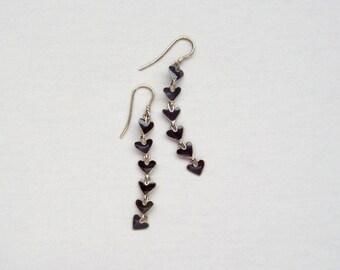 Enameled Sterling Earrings. Black Heart Catkins. Dainty.