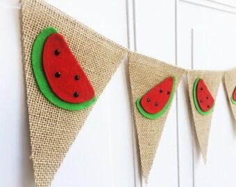Watermelon Birthday, Summer Banner, Watermelon Banner, Watermelon Party, Summer Decor, Watermelon Burlap Banner, Bunting, Garland