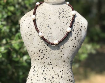 Silk cord necklace with pearls