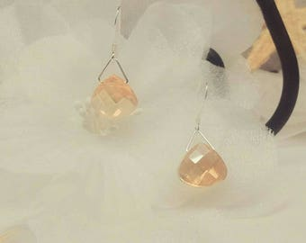 Gold Champagne Crystal Earrings Champagne Earrings Dangle Earrings Drop 925 Sterling Silver Earrings BuyAny3+Get1 Free