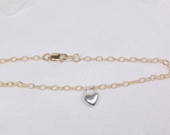 14kt Gold Baby Bracelet 14kt Gold Toddler Bracelet 14k Gold Chain Bracelet Silver Heart Bracelet Girls 14k Gold Bracelet BuyAny3+Get1Free