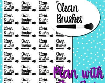 Functional Planner Stickers | Clean Makeup Brushes