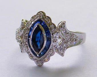 14k Gold French cut Navette Blue sapphire pave Diamond Target bulls eye halo ring Art Deco Revival