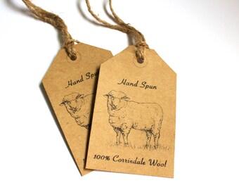 "Tags for Corriedale Wool-Printable PDF- ""Hand Spun Yarn"""