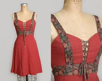 70s Prairie Dress Paisley Corset Montgomery Ward Hippie Dress