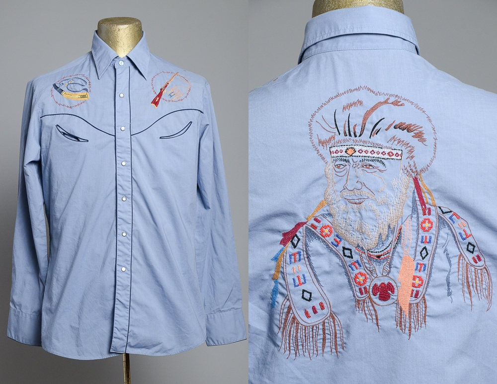 70s Hippie Embroidered Denim Western Button Down Hippie Shirt YQ9DmZ