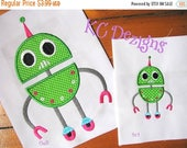 ON SALE Robot 10 Machine Applique Embroidery Design - 4x4, 5x7 & 6x8