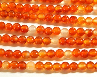 6mm Natural Carnelian Polished Round Semi-Precious Beads, 15 Inch Strand (IND1C16)
