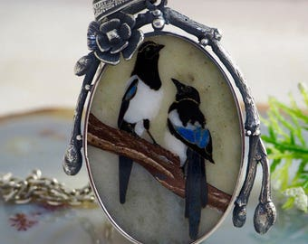 Mosaic Pendant Magpies Statement Necklace Sterling Silver Jewelry