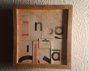 Mixed media and found object on wood box.