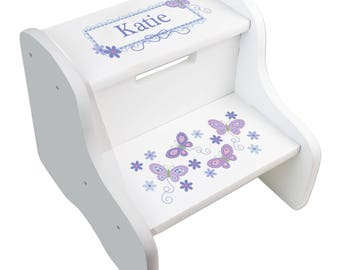 Personalized White STEP Stool with Lavender Butterflies Purple Butterfly Stool Flowers Baby Little Girl Gift Large Wood Stool FIXE-whi-300b
