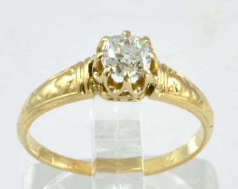 Antique Engagement Ring - 14k Gold with 1/3 CT Mine Cut Diamond C1900s