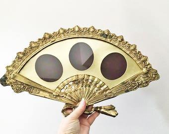 Hand Fan Frame / Mid Century Hollywood Regency Triple Frame / Brass Picture Frame / Wedding Frame