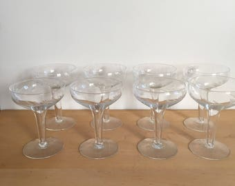 Hollow Stem Etched Coupe Champagne Set of 8 / Daisy / Wedding