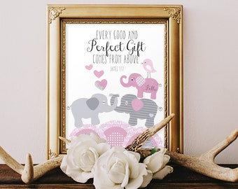 BABY GIRL DEDICATION gifts, personalized Baptism, Godparents baptismal gifts, Scripture prayer, Bible verse for child, baby elephants, pink