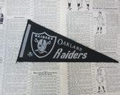 Vintage Oakland Raiders Football Pennant 1970s Era Small 9 Inch Mini Felt Pennant Banner Flag Vintage NFL Display Sports