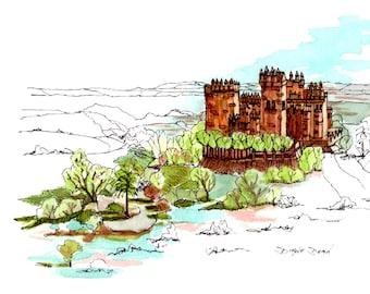 Medieval Castle in Spain in Ink and Watercolor/print