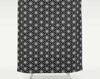 36 colours,  Black, 6 point star, Polygon Shower Curtain, Nordic decor, black and white, geometric, star pattern bathroom decor