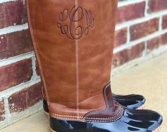 SALE Monogram Duck Boots-Tall Monogram Duck Boots-Monogram Leather Boots-Plaid Duck Boots