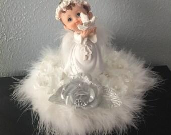 Baby Angel Centerpiece - White pedestal angel /baby boy  cake topper / baptism top cake / center pieces/ baby cake topper,Narelo