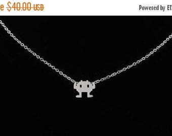 60% OFF Sale Retro Game Necklace, Space Invader Neclace, Nintendo 8-Bit Retro Video Game Jewelry, Robot Necklace, Geeky Gift, Video Game Jew
