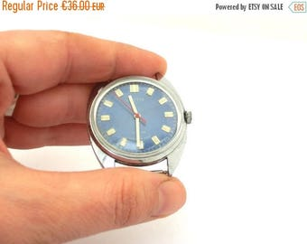 SALE 20% off Vintage Navy Blue watch, Clock wrist Vostok 17 jewels from Soviet Union