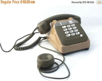 SALE 20% off Vintage green telephone, Made in France, Khaki French telephone,  French phone 80s