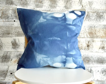18x18 inch indigo shibori pillow cover - Marine