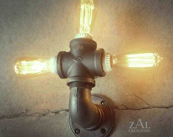 Wall Light. Ceiling Light. Vanity Light. Sconce. Industrial. Steampunk. Edison. Triple bulb.