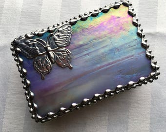 Stained Glass Jewelry Box|Trinket Box|Butterfly|Lavender|Jewelry|Jewelry Storage|Art & Collectibles|Glass Art Box|Handcrafted|Made in USA