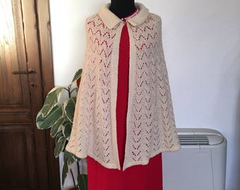 Vintage white wool cape handmade 60s