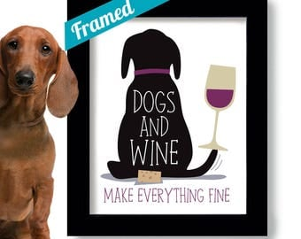 Dogs and Wine, Black Lab Art Print, Wine Lover Gift, Dog Mom, Wine Glass, Black Labrador, Dog Lover Christmas Gift, Wall Art, Puppy Shower,