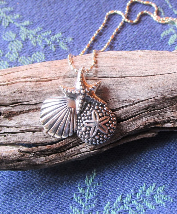 Sterling Silver Sealife Necklace, Beachy Necklace, Starfish, Seashell and Sand Dollar w Beautiful Sterling Silver on Diamond Cut Chain, Gift