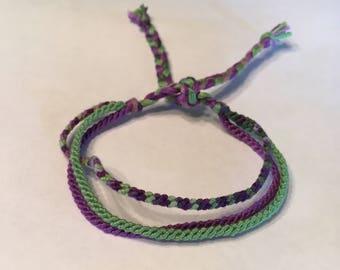 Purple, Green & Ombre Thin Friendship Bracelet