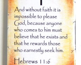 Hebrews 11:6 Bible Verse Fridge Magnet (2 x 3 inches)