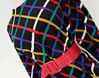 SALE:)) RAINBOW CHECKS . Wonderful Geometric Bright Op Art Graphics Print Midi Dress 80s Black Blue Yellow Red S