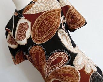 SALE :)) FRANCE . Paisley, The Gorgeous . Pure Wool Bold Print Midi Dress L Chocolate 60s Nice Quality