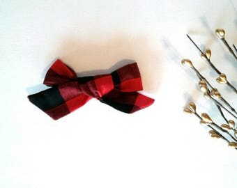 Girl's hair bow red plaid buffalo gingham black Valentines