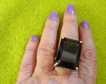 Stuning Huge Chunky, Bold Smokey Topaz Ring, Old Hollywood Glamour in Sterling Silver