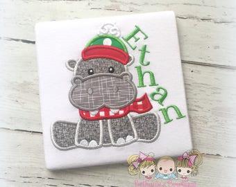Christmas Hippo shirt - hippopotamus shirt - winter hippo shirt - girl or boy Christmas shirt - personalized Christmas shirt with hippo