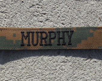Military Name Tape or Name Patch Marine Woodland Camo USMC Custom Name Tapes