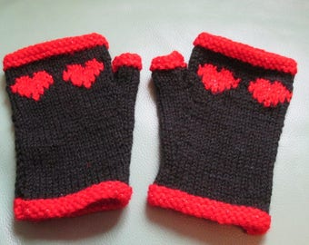 NEW COLOURWAY Sparkly red heart and trim with black hand knitted pair of wristwarmers fingerless gloves gauntlets