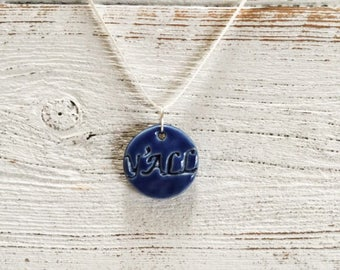 Royal Blue Ceramic Y'all Pendant, Southern Sass, Country Girl, Southern Girl, Unique Gift, Ceramics, Y'all Jewelry, Ceramic Jewelry