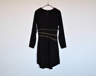 Vintage Black Chiffon Pleated Cocktail Long Sleeve Fishtail Cocktail Dress